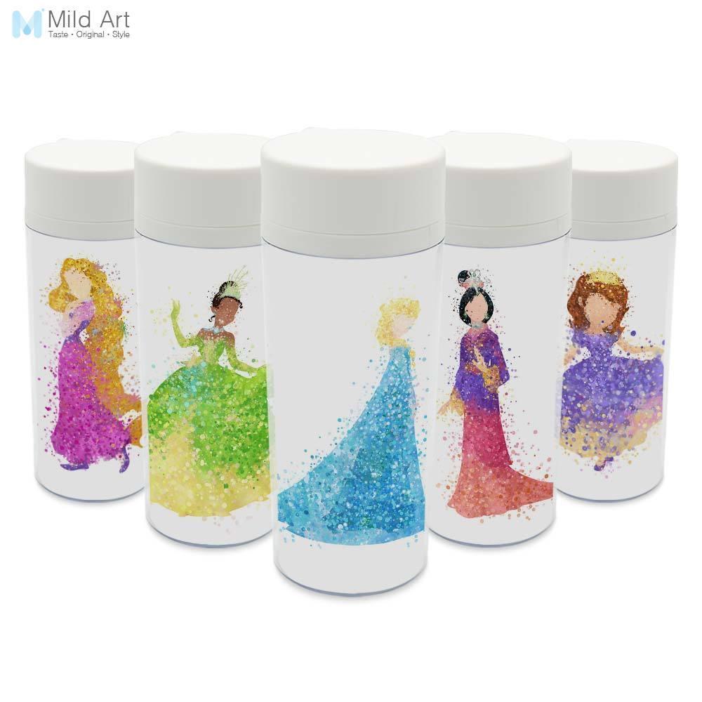 Plastic Insulated Watercolor Cartoon Movie Fairy Princess Snow Cinderella Elsa Girl Gifts Water Bottles Drinkware Gifts BPA Free