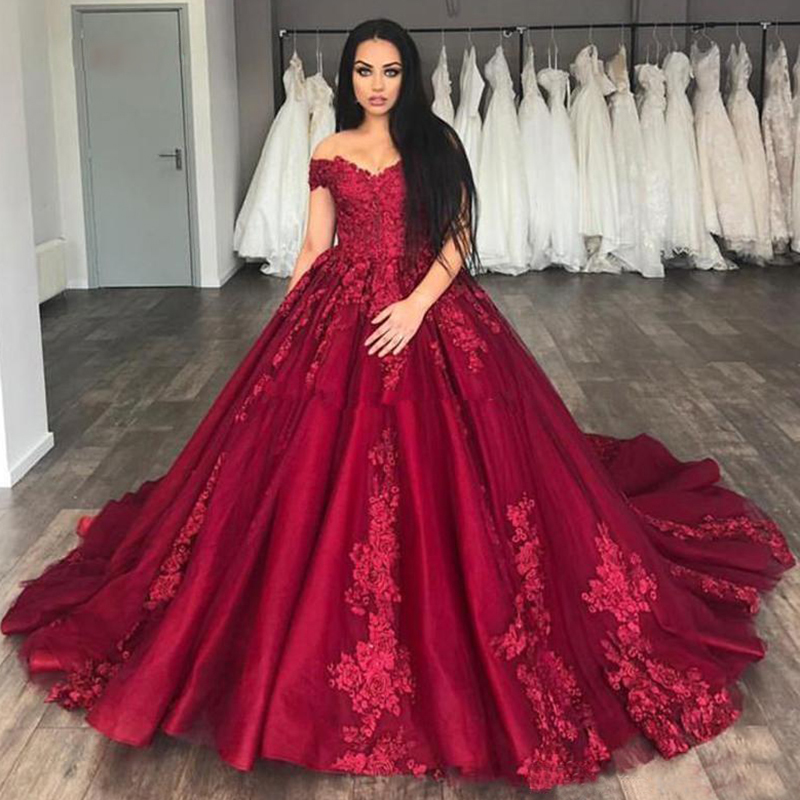 2019 Burgundy Quinceanera Dresses Ball Gown Off Shoulder Prom Debutante Sixteen 15 Sweet 16 Dress Vestidos De 15 Anos