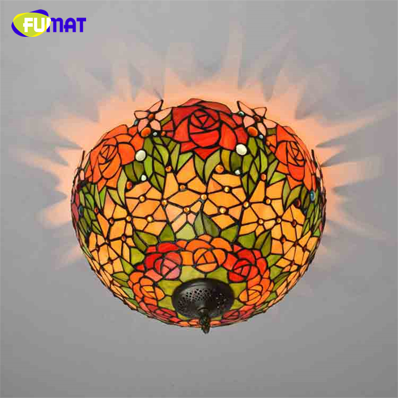 FUMAT Art Stained Glass Rose Shade Ceiling Light For Living Room Bed Room European Luxury Creative Art LED Glass Ceiling Lamps