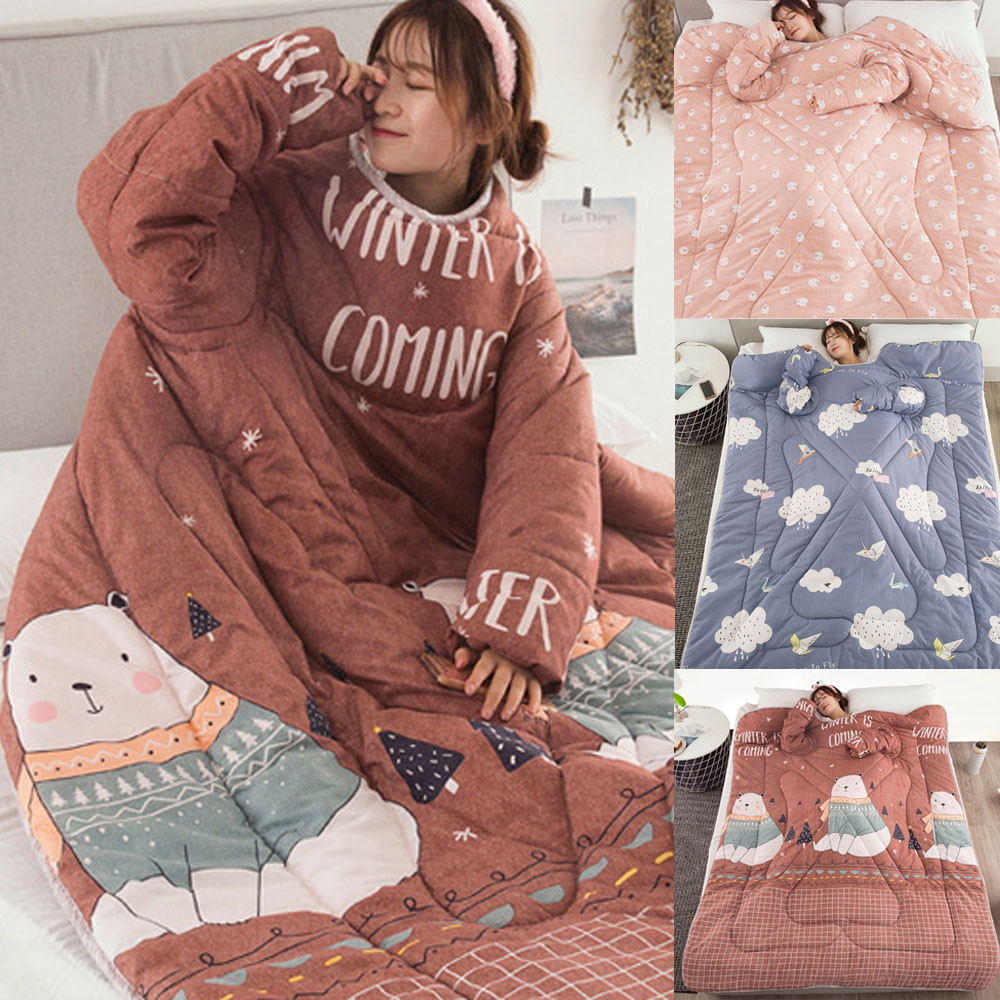 Air Condition Lazy Quilt With Sleeves Multifunction Lovers Winter Warm Long Sleeve O-Neck Suit Print Thicken Blanket 120X160cm