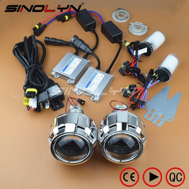 SINOLYN 2,5 zoll HID Bi xenon Scheinwerfer Projektor Objektiv LHD/RHD Volle Nachrüstung Auto Styling Kit Linsen H4 H7 4300 karat 6000 karat 8000 karat