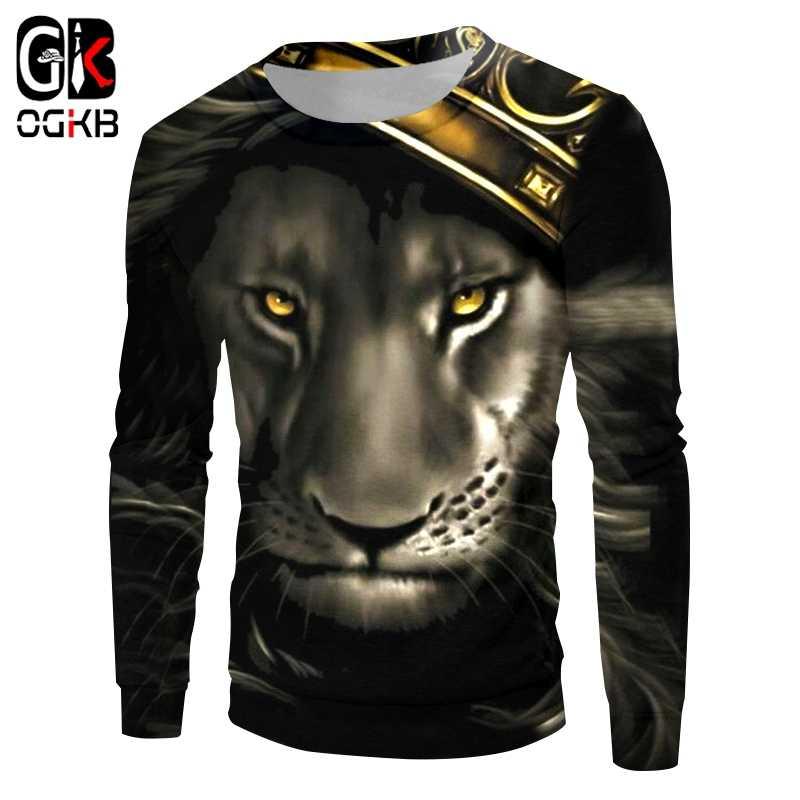 OGKB толстовка взрослых модные длинные 3D пальто принт пламя Король Лев с короной хип хоп большие Топы футболки для девочек осень оптовая продажа Dropshipp