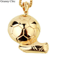 Fashion Mens Jewelry Cool Hip Hop Gold Tone Stainless Steel Playing Football Pendant Necklace