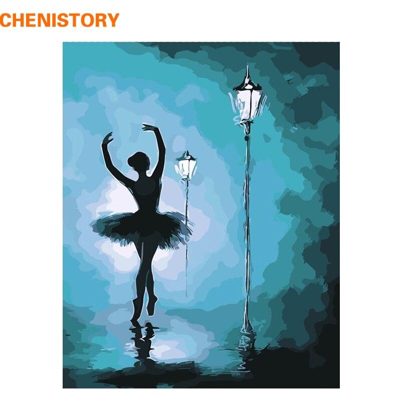 CHENISTORY Rahmenlose Ballett Tänzerin DIY Malerei Durch Zahlen Abstrakte  Moderne Wand Kunst Leinwand Malerei Für Wohnzimmer Hause Dekore