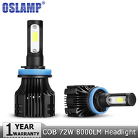 Oslamp COB 72W Pair H4 Socket Car LED Headlight Bulbs 8000LM 6500K DC 12v 24v Auto