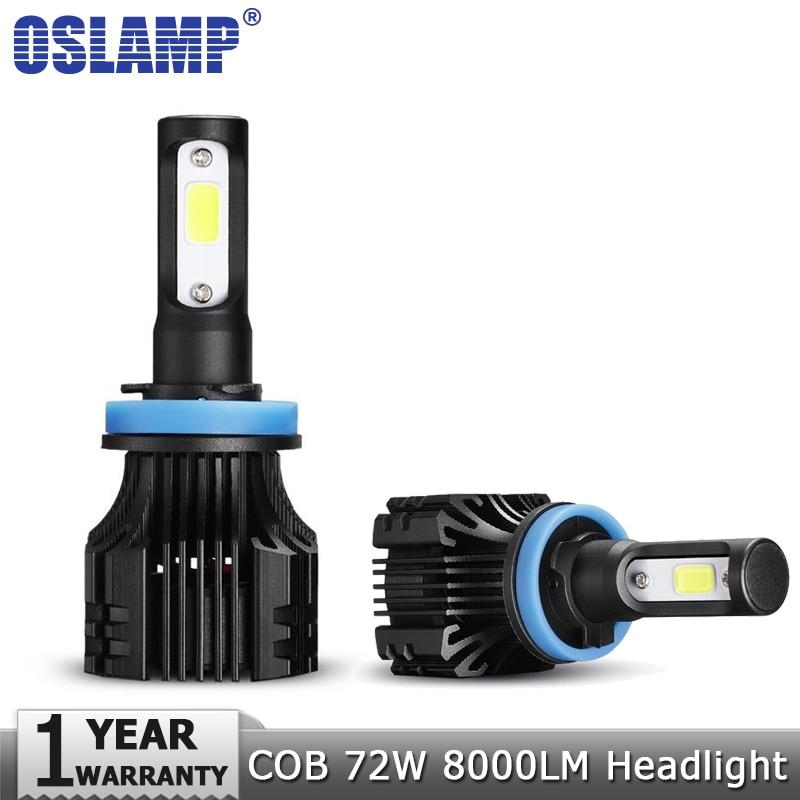 Oslamp H4 H7 LED Car Headlight Bulbs H11 H1 H3 9005 9006 72W COB Chips Hi-Lo Beam 8000lm 6500K Auto Headlamp Led Light DC12v 24v 2 pcs led car headlight bulb hi lo beam cob headlights 72w 8000lm 6500k auto headlamp 12v 24v fog light work head lamp h4 h7 h11