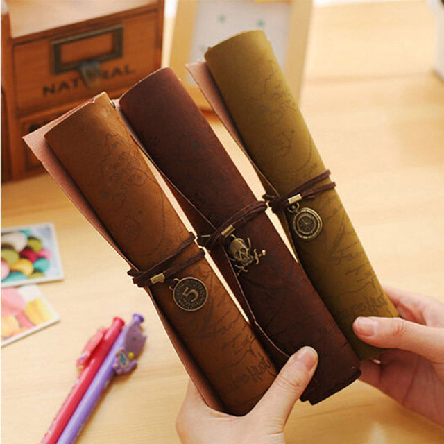 Retro Vintage Pirate Treasure Map Roll Up Cosmetic Bag Pencil Pen ...