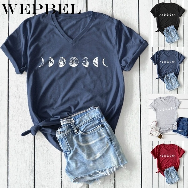 WEPBEL Summer Fashion Moon Phases Printed Shirt T-shirt Ladies Casual Short Sleeve V-neck Tee Tops