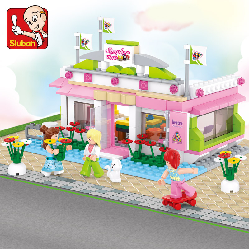 289pcs Sluban building blocks Girl city series snooker club toys for children Compatible lepin bricks Educational lepin toy 1713 city swat series military fighter policeman building bricks compatible lepin city toys for children