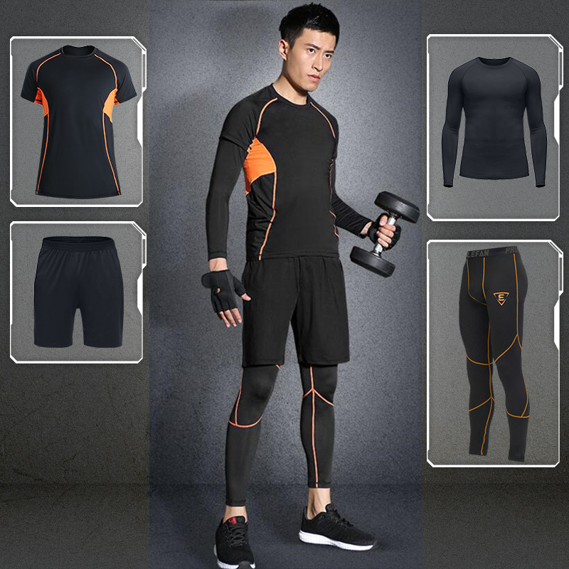 LEFAN 2018 Sport Suits Men Elastic Fitness Sets Male Bodybuilding Training Sportswear Clothes Sets 4pcs Gym Running Tracksuits lefan 2018 sport suits 3pcs men elastic running fitness sets male training sportswear clothes set gym tracksuits tight leggings