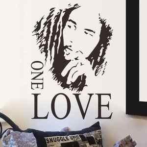 Image 1 - Marley one love adesivo da parete in vinile di reggae music di murale separabile poster amante della musica a casa di arte di disegno della decorazione 2YY2