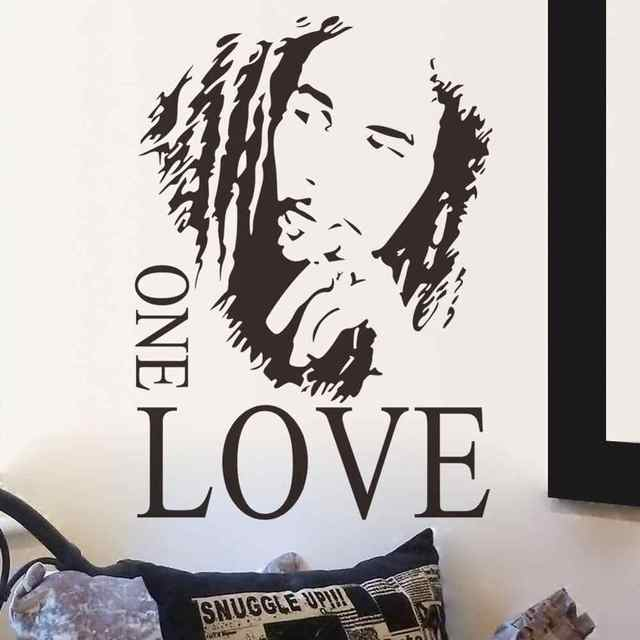 Marley one love vinyl wall sticker reggae music mural separable poster music lover home art design decoration 2YY2