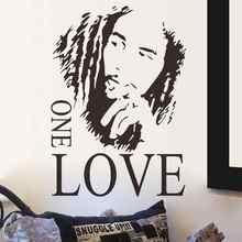 Marley one love vinyle autocollant mural reggae musique murale séparable affiche mélomane maison art design décoration 2YY2