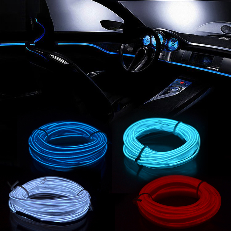 3m/5m Car LED Strips Decoration Strip 12V Flexible Neon EL Wire Rope Indoor Universal Interior LED Car Light Strip for Car Auto