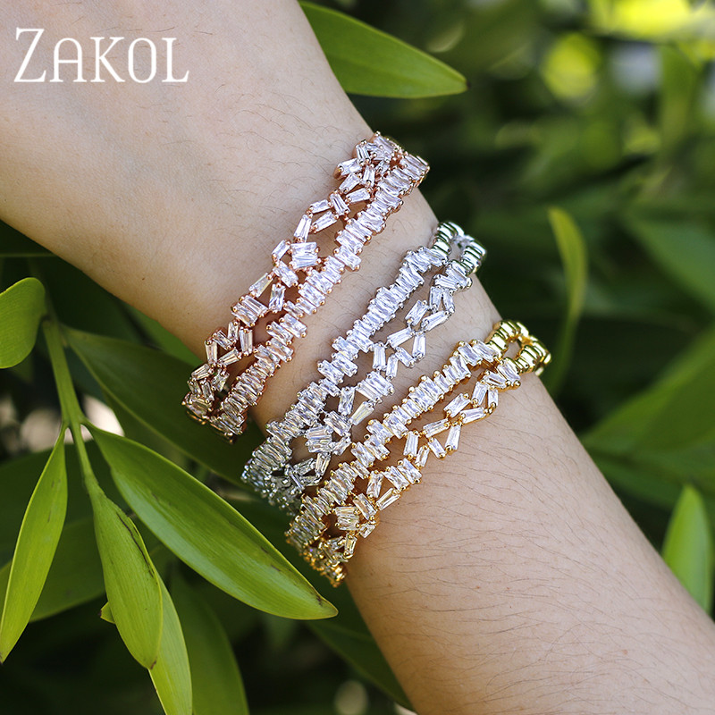 ZAKOL Luxury Brand Design Fashion AAA Cubic Zircon Multi-layered Baguette Bracelet Cuff Bangle for Women Gift Jewelry FSBP152 delicate double layered faux turquoise floral cuff bracelet for women