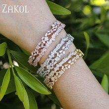 ZAKOL Luxury Brand Design Fashion AAA Cubic Zircon Multi-layered Baguette Bracelet Cuff Bangle for Women Gift Jewelry FSBP152