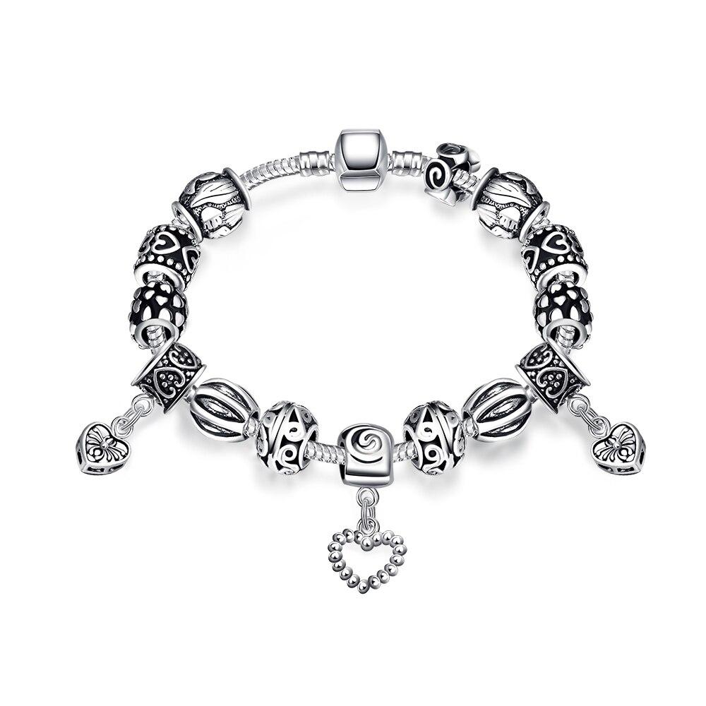 2018 Authentic Hot Retro Geometric Mix And Match Ladies Bracelet Crystal Fit Original Pandor Bracelets Diy Charm Beads Fit gift