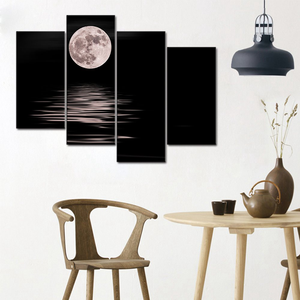 The Back Oil Wall Art Sea White Full Moon Night Home Decoration Abstract Landscape Oil Painting on Canvas Print 4 Panels Gifts