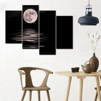 Tylnej Ściany Sztuki Olej Morze Białe Noc Pełni Księżyca Domu dekoracji Abstrakcyjne Krajobraz Obraz Olejny na Płótnie 4 Panele Prezenty