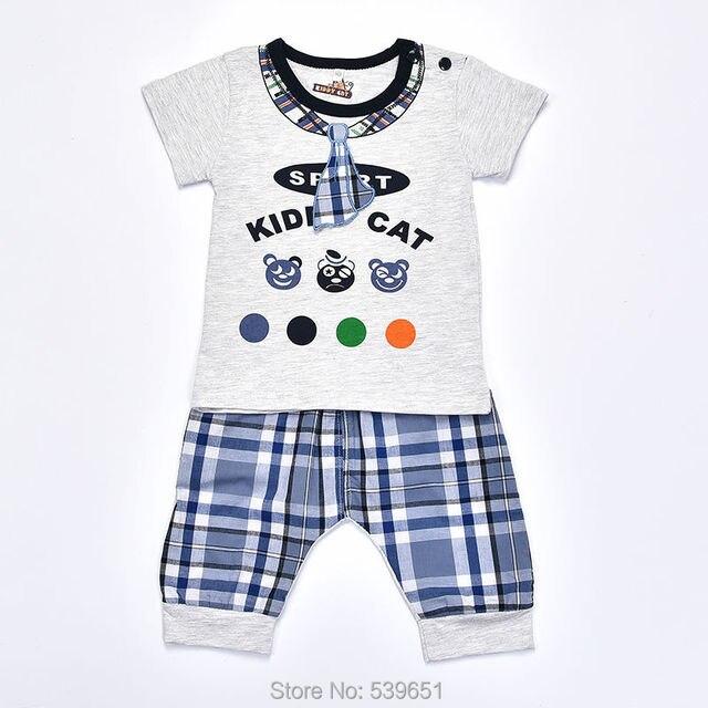 76c502758c8b baby boy summer clothes set for children cartoon cotoom o-neck short tshirt+ England plaid shorts newborn kids clothes suits