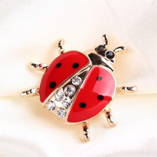 Red & Black Spotted Ladybug Brooch With Black & White Rhinestones