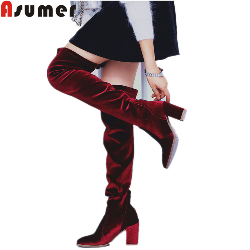 ASUMER big size 34-42 fashion over the knee boots women square toe zip flock autumn winter boots high heels thight height boots memunia over the knee boots for women autumn winter zip high heels shoes fashion womens boots pointed toe big size 34 43