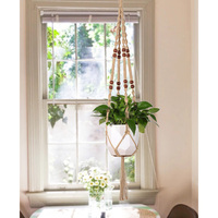 Macrame Plant Hanger Jute With Beads Handmade Hanging Planter Holder For Indoor Outdoor Round Square Pots