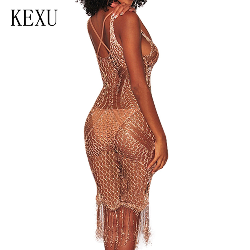 KEXU Summer Women Casual Hollow Out Knit Dress Sexy Sleeveless V neck See Through Grid Bodycon Dress Casual Boho Beach Vestidos in Dresses from Women 39 s Clothing