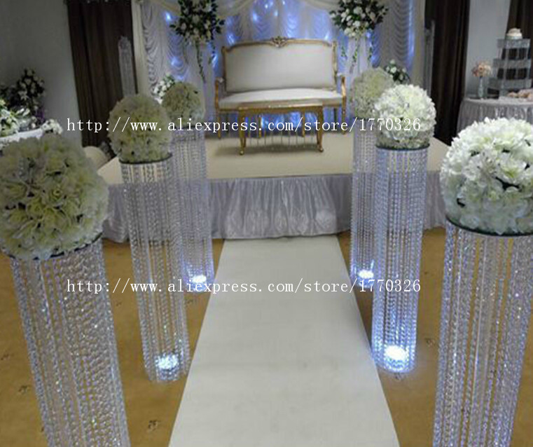 6pcs Packs Crystal Wedding Pillar 120cm Tall 25cm Diameter Crystal