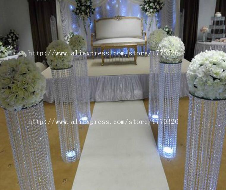 Free shipment 10PCSpacks crystal wedding pillar 120cm