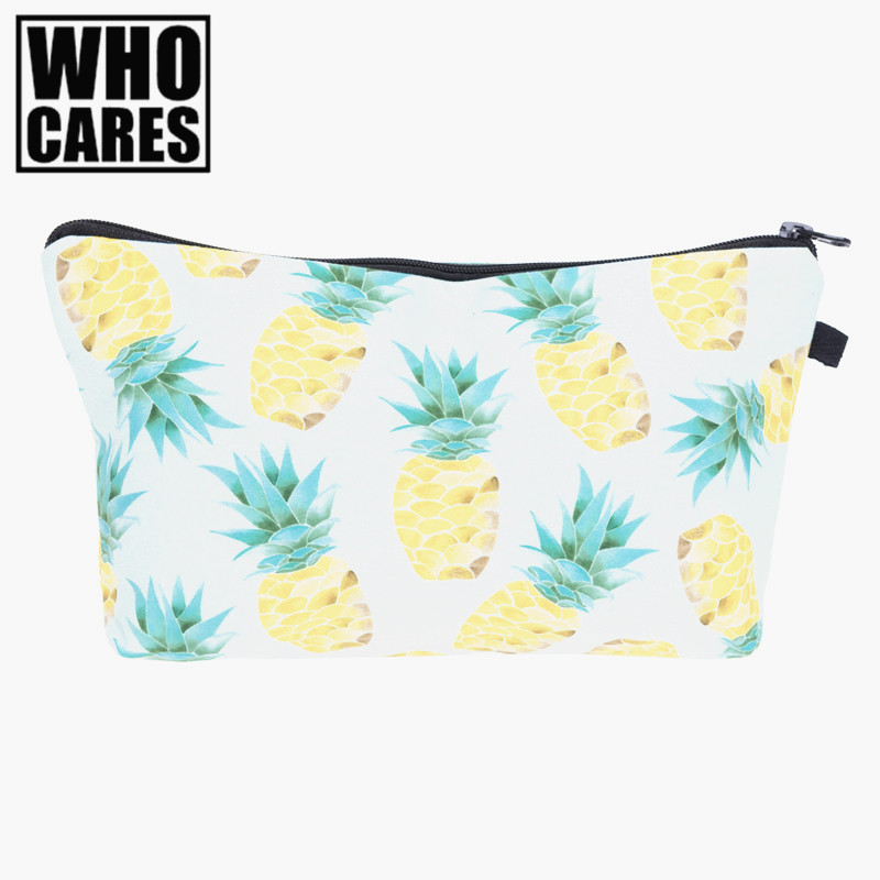 Pineapple yellow green 3D Printing makeup bag 2017 who cares trousse de maquillage women toiletry bag travel pencil bags neceser dynamite baits xl pineapple