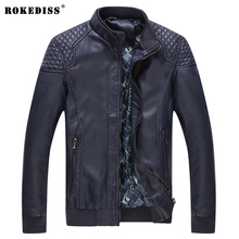 ROKEDISS New Men's Spring Autumn PU Jackets Male Slim Stand Collar Brand Clothing Men Casual Coats PU Thin Outwear W007