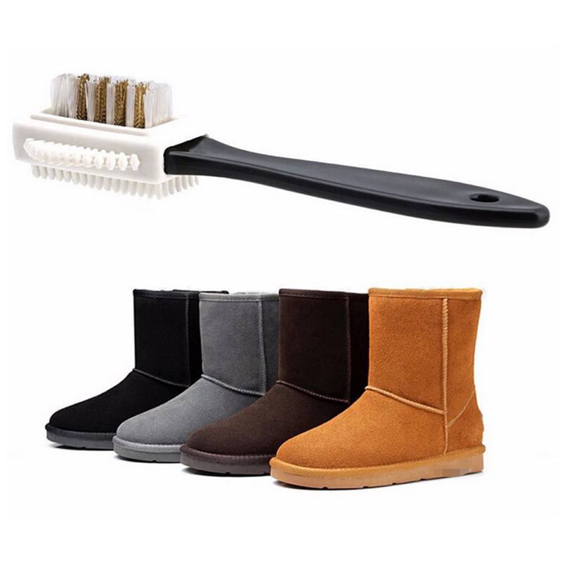 3-Way Shoe Brush Premium Shoe Cleaner Kit Shoe Polish Suede Cleaning Brush Three-side Velvet Skin Frosted Leather Snow Boots