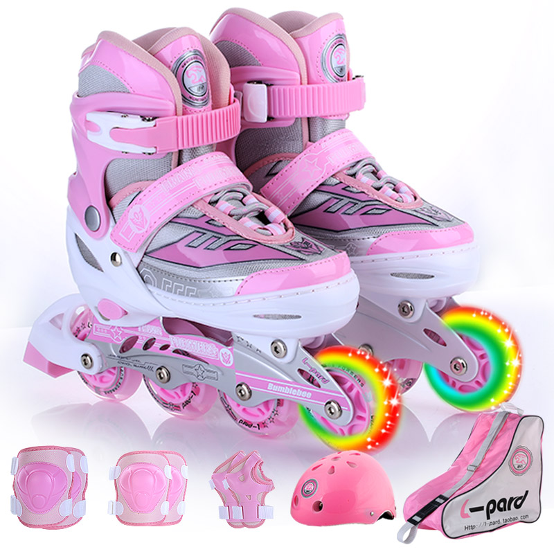 only front wheel flashing B12 sizeS Children's full set of single-row roller skates adjustable code scalable flash wheel shoes children roller sneaker with one wheel led lighted flashing roller skates kids boy girl shoes zapatillas con ruedas
