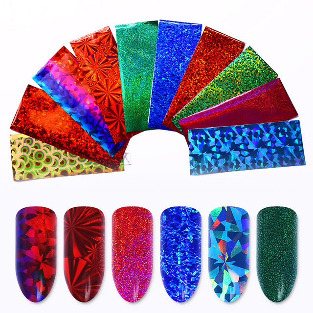 50 Pcs Colorful Holographic Nail Foil 4*20cm