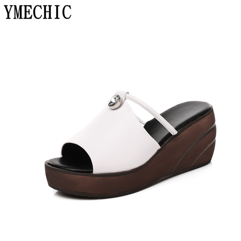 YMECHIC 女性夏ウェッジプラットフォームシューズの女性白黒リアルレザーピープトウウェッジハイヒールプラットフォームスライドスリッパ  グループ上の 靴 からの スリッパ の中 3