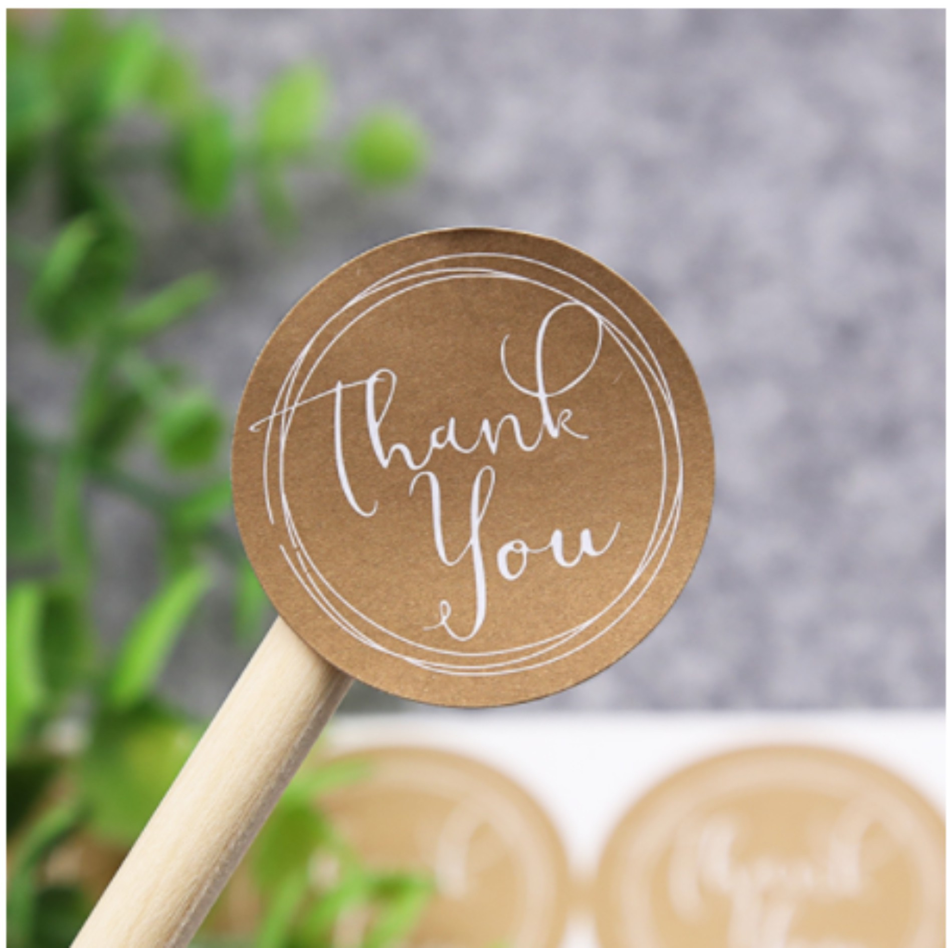 120Pcs Thank You Round Cake Packaging Sealing Label Kraft Sticker Baking DIY Gift Stickers
