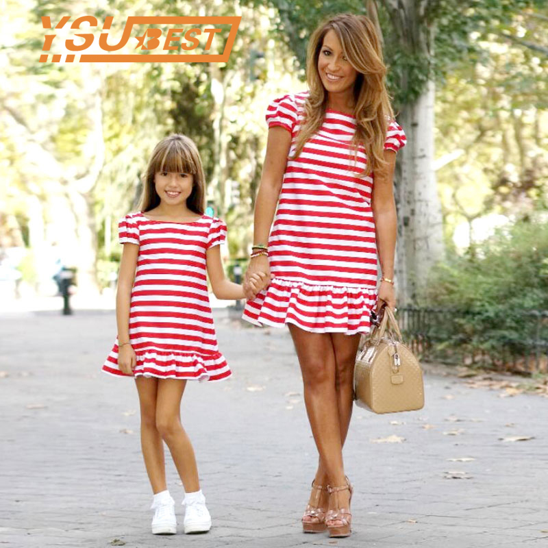 New Mother Kids Mom and Daughter Dress Striped Moth