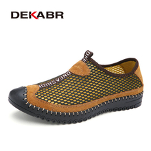DEKABR 2019 Newest Summer Casual Shoes Men Breathable Mesh Fashion Slip On Shoes Comfortable Soft Hand Made Men Shoes Size 38-46