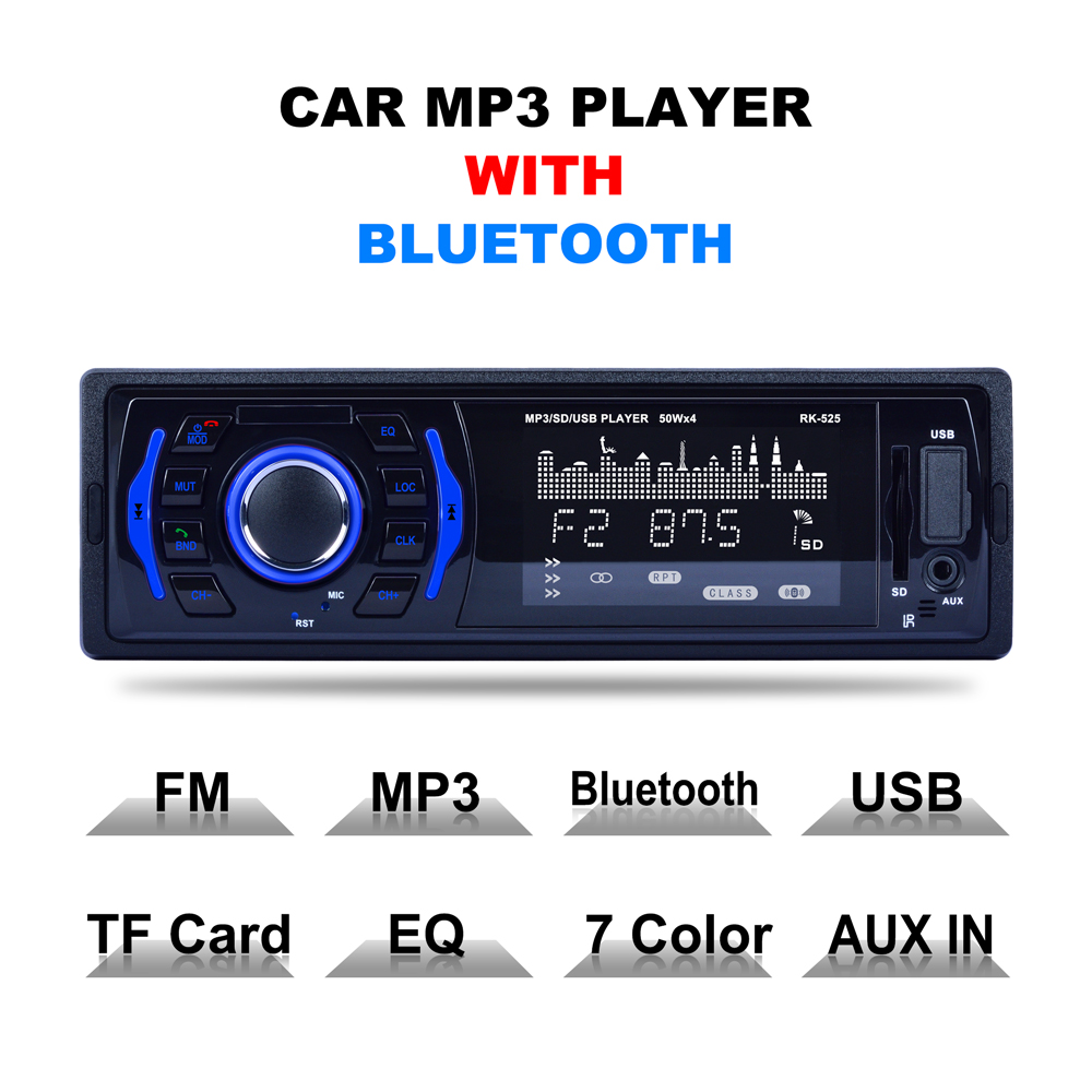 Car Radio Stereo Player Bluetooth Phone AUX-IN MP3 FM/USB/TF card/1 Din/remote control 12V Car Audio Auto 7 Colors Backlight все цены