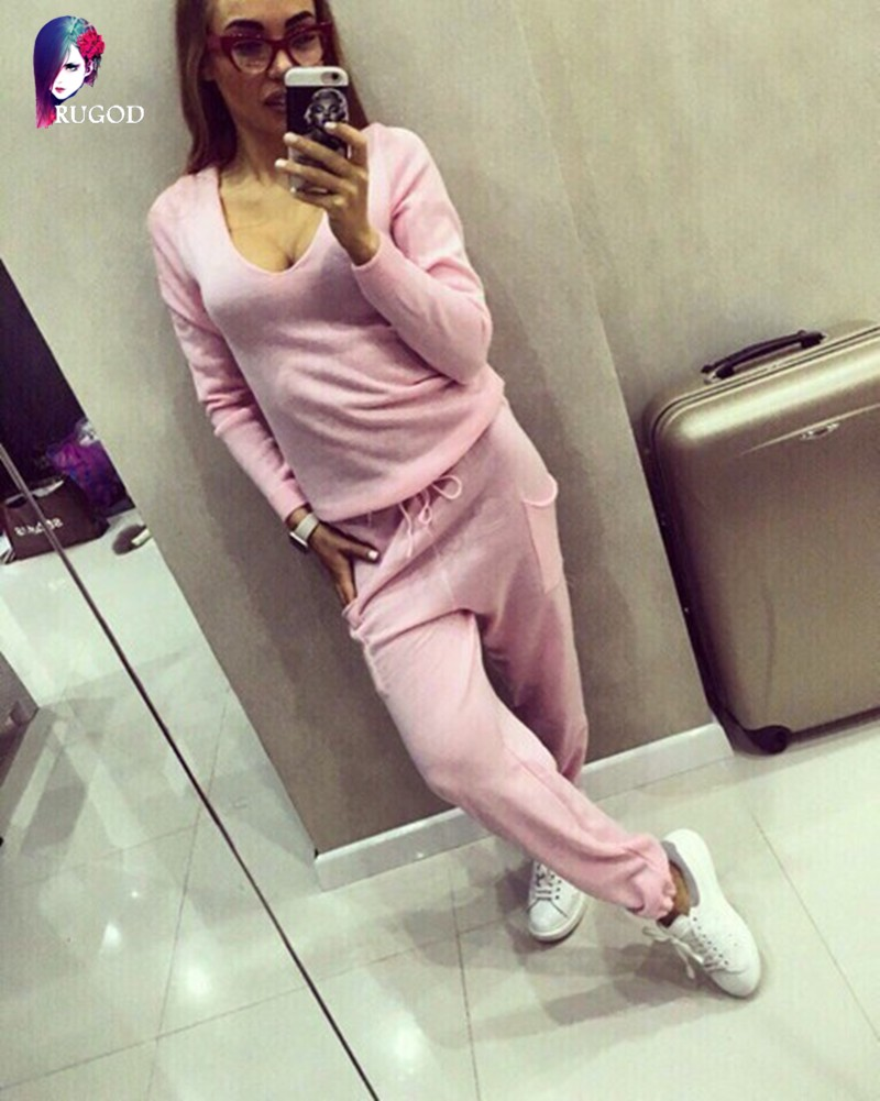 17 Hot 2 Pieces Set Women V-Neck Sexy Knitted two pieces sets Spring Suits Tracksuit Sweater top+ Pants Set Womens Casual Suit 12