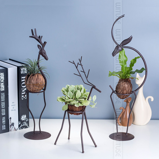 Whole 1pc 2pcs 3pcs Deer Shaped Iron Display Stand Flower Pot Air Plants Holder For Office Home Decaration