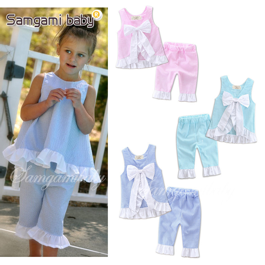 New Girls Clothing Sets Children Casual Clothes Sets Baby Girls Bow Tie Lotus Leaf Vest T Shirt Pants Suits Summer Kids Clothes