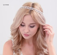 2 Color Gold Silver Rope Copper Chain Crystal Hair Bride Handmake Floral Jewelry Pearl Headpiece Ornaments