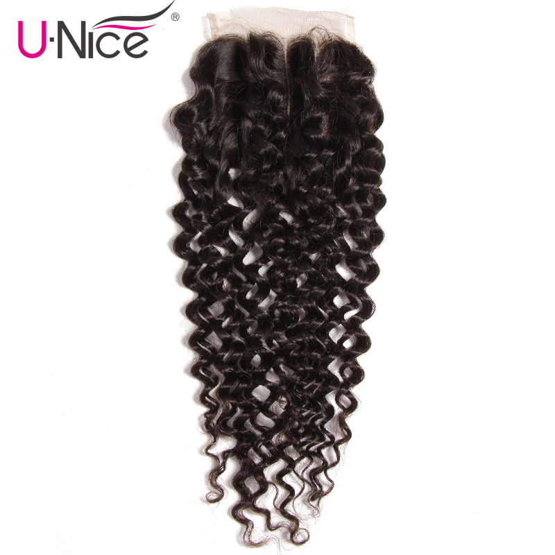 UNICE Lace Closures Curly Natural-Color 10-20inch Peruvian Three-Part 120%Density