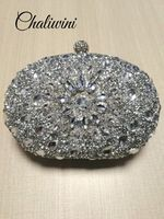 Wedding Diamond Silver Floral Crystal Sling Package Woman Bag Clutch Bag cell phone pocket Matching Wallet Purse Handbags