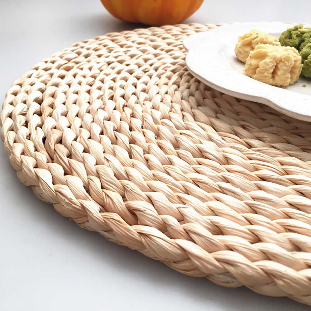 EY/_ AM/_ RATTAN WEAVE ROUND OVAL PLACEMAT DINING TABLE HEAT INSULATION MAT STUNNI