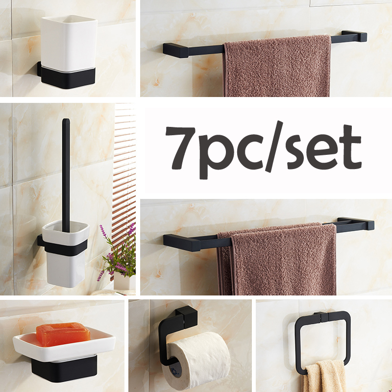 Newly 7pc/set Stainless Steel Alloy Bathroom Accessories Set Wall Mount Paper Holder/Towel Bar/towel ring/soap dish high quality bathroom accessories stainless steel black finish towel ring holder