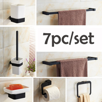 Newly 7pc Set Stainless Steel Alloy Bathroom Accessories Set Wall Mount Paper Holder Towel Bar Towel