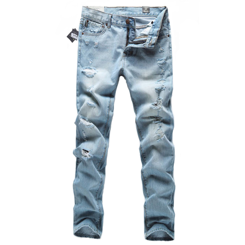 european american high street fashion men jeans light blue